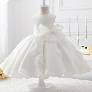 White Organza With Flowers Ball Gown Flower Girl Dresses communion dresses First Flower Girl Dress