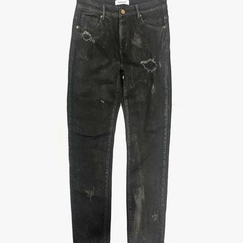 Waxed Black Destroyed Jeans