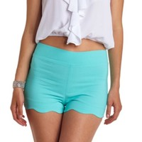 SCALLOPED HIGH-WAISTED SHORTS