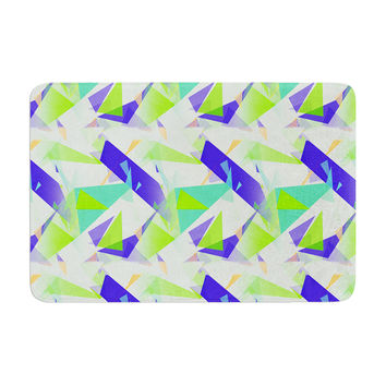 "Alison Coxon ""Confetti Triangles Blue"" Green Teal Memory Foam Bath Mat"