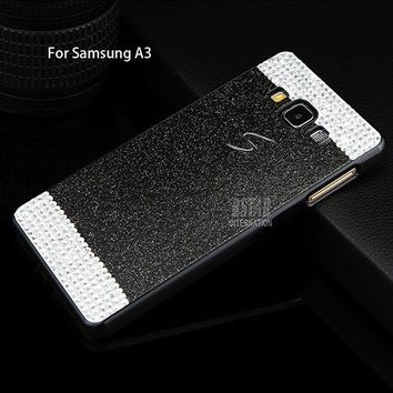 2015 New Glitter Rhinestone Powder Hard Cover Fashion Sparkle Bling Shining Phone Case For Samsung A3 A3000 A5 A5000 A7 A7000