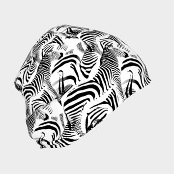 Black & White Zebra Stripes, Beanie - Skull Cap, Winter or Summer, Multiple Fabric Choices, Baby - Adult Sizes