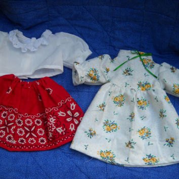 Nightgown & Blouse and Skirt to Dress My 15 inch Raggedy Ann Doll