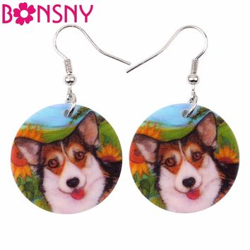 Bonsny Siberian Husky Pattern Acrylic Bohemian Drop Dangle Round Long Earrings For Women Fashion Dog Jewelry 2017 New Bricons