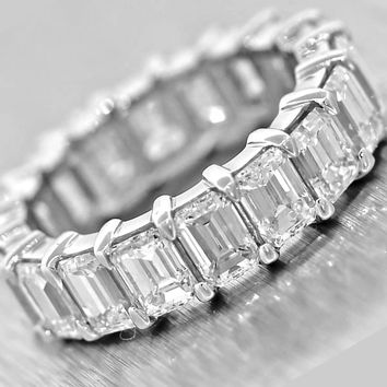 7.35ct Emerald Cut Diamond Platinum Eternity Wedding Band Ring Size 6.25