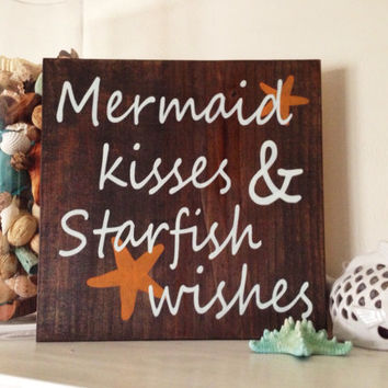 10% OFF! Beach Sign, Mermaid Kisses, Stained and Hand Painted, Customizable, summer, birthday, vacation, home decor, beach, mermaids