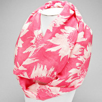 Pink Flower Spring Infinity Scarf
