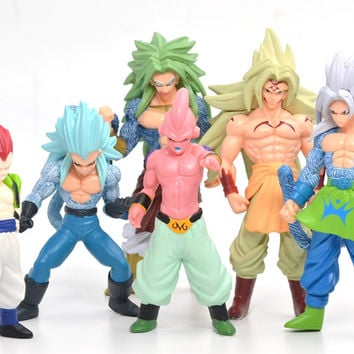 13cm 6pcs Dragon Ball Z Super Saiyan Goku Son Gokou Manga Dragonball 6 Monkey