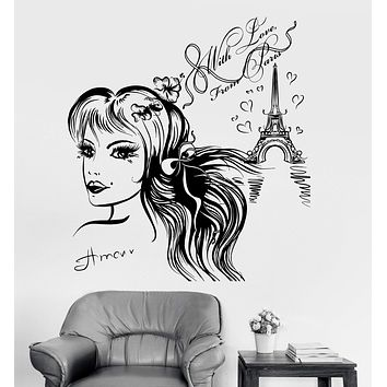 Vinyl Wall Decal Pretty Girl Room Paris Quote Eiffel Tower Art Stickers Unique Gift (ig3525)