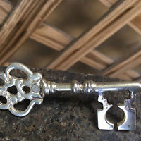 Vintage Key Candle Pin Sterling Silver Plated Decorative