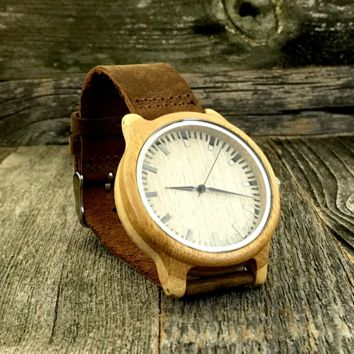 The Minimalist  - Sandalwood and Brown Leather Strap Watch