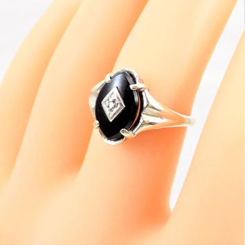 10k 1930 Art Deco Black Onyx Diamond Ring, Size 5 1/2, Vintage Rings
