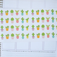 Set of 48 Happy Cactus Stickers, Planner Stickers perfect for your Erin Condren Life Planner, Cactus Sticker, Printed + Kiss Cut