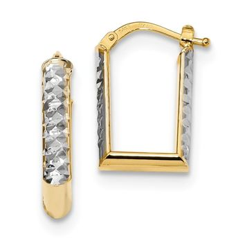 14K Rhodium Plated Yellow Gold Gold With White Rhodium Diamond Cut Square Hoop Earrings