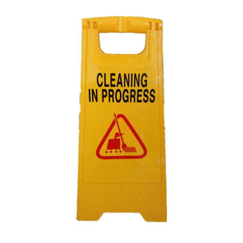 Caution Cleaning IN Progress Double Side Sign Warning Board Bright Yellow Plastic 24""