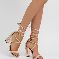 Faux Suede Embossed Metallic Heel Lace-Up Dress Sandals