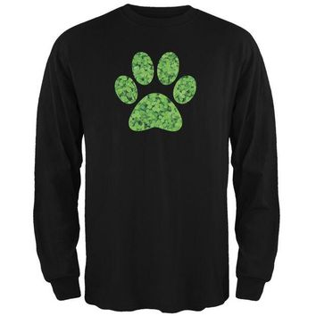 LMFCY8 St. Patricks Day - Dog Paw Black Adult Long Sleeve T-Shirt