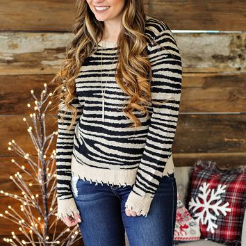 * Hey There Zebra Distressed Sweater - Taupe/Black