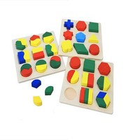 YIXIN Set of 3 Wooden Geometric Shape Sorter Puzzle Board Building Block Toy Puz