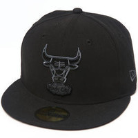 NBA Chicago Bulls New Era 59Fifty Black Gray Basic Chibulhc Black Team Fitted Hat