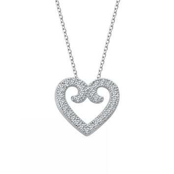 Lafonn Rhonda Faber Green Sterling Silver Platinum Plated Lassire Simulated Diamond Necklace (0.31 CTTW)