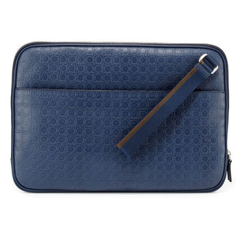 Blue Calf Leather Messenger Briefcase by Ferragamo