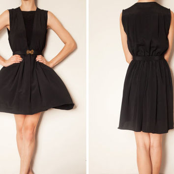 1970's japanese black vintage dress with golden butterfly belt, Black dress, No sleeve dress, Butterfly belt dress,Tea dress