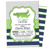 Alligator Baby Shower Invitation - Boy Gator Baby Shower Invite - Alligator Invitations - Swamp Baby Shower Invitation - Little Alligator