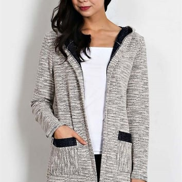 Marled Contrast Cardigan with Hood