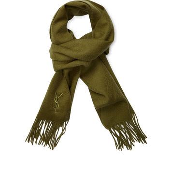 "Yves Saint Laurent Men's Embroidered Logo Wool Scarf, 66"" x 12.5"" - Green"