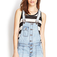 FOREVER 21 Buttoned Overall Shorts Light Denim