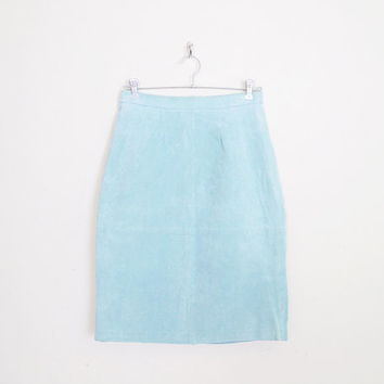 Leather Skirt Leather Mini Skirt Suede Skirt High Waist Skirt Pencil Skirt Motorcycle Skirt Biker Skirt 80s Skirt Mint Seafoam Aqua L Large
