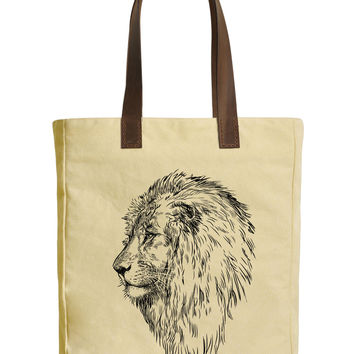 Profile of a Lion Beige Print Canvas Tote Bags Leather Handles WAS_30