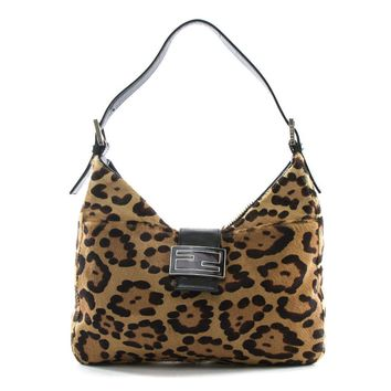 Authentic Fendi brown leopard print calf hair shoulder bag baguette made in Ital