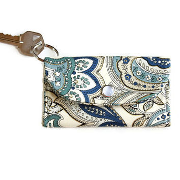 Paisley Keychain Wallet and Coin Purse in Blue and Cream, Student ID Holder, Keychain Cardholder, Dorm Key Ring Wallet, Free Shipping