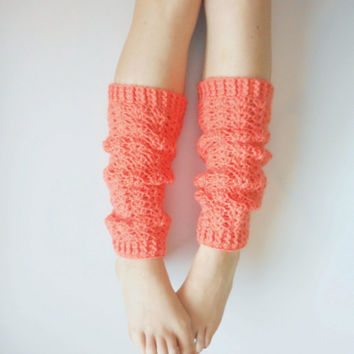 Textured Crochet Leg Warmers in Mango, vegan friendly, ready to ship.