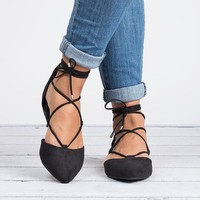 Lace Up Ballerina Flats - Black