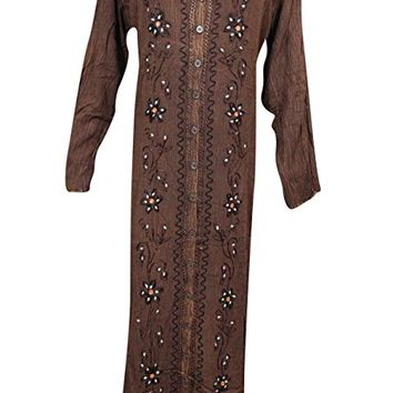 Womens Button Front Maxi Dresses Brown Stonewashed Rayon Embroidered Abaya Xl
