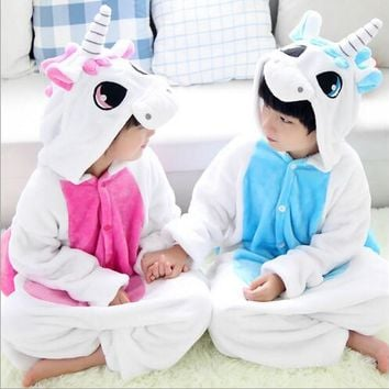 Unicorn Costume Fancy Fluffy Blue Pink Unicorn Onesuit Halloween Christmas Gift Child Kids Girls Unicorn Pajamas