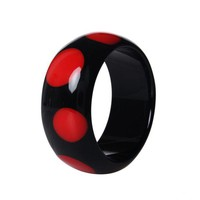 DCCKFV3 Fashion Nice Spot Resin Round Black Bangle Bracelets Pulseiras For Women 2017 New Year Personalised Gifts Jewelry 2 Colors