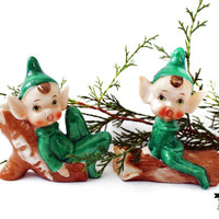 Vintage Christmas Elves, Green Porcelain Pixie, Christmas Decor, Nostalgic Holiday Collectible, Holiday Figurine 204B