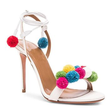 Summer Shoes Woman Sandals High Heels 10CM Pom Pom Sandals Women Shoes Open Toe Women Sandals Sexy Ankle Strap Sandalias B-0066