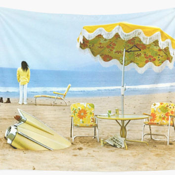 'Neil Young On The Beach' Wall Tapestry by ManBaby