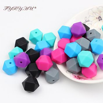 TYRY.HU 20pc Silicone Baby Teething Beads 14*14mm Food Grade Nursing Teether Silicone Baby Toy Pacifier DIY Accessory