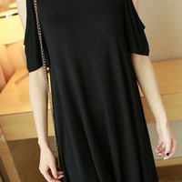 Black Cut Out Half Sleeve Summer Dress
