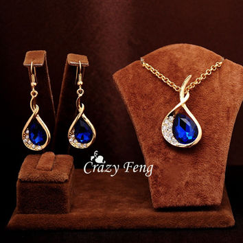 Trendy Gold Plated Crystal Jewelry Sets Women F0413-f0415