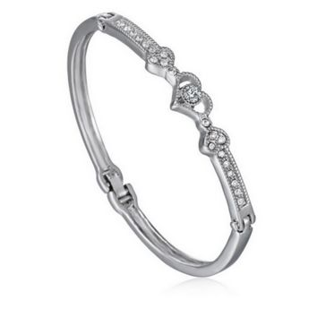 Crystal Heart Shaped Bangle