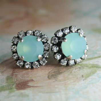 Aqua mint Crystal Stud earrings,Seafoam earring,Matt Pacific blue opal crystal earrings,Bridesmaids gift,Beach Bridal jewelry,seaglass,matt