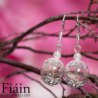 Real dandelion seeds and hand blown glass short drop earrings, eco friendly jewelry