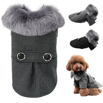 Dog Clothing For Small Medium Dogs Pet Pug Chihuahua Clothes Winter Roupas Pet Puppy Yorkie Dog Coat Jacket With Fur S-2XL